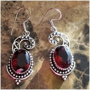 """Jewelry - 12cttw Mozambique Garnet Earrings 2.5"""" long"""